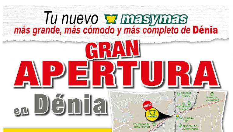 Folleto sobre la apertura del nuevo supermercado Mas y Mas en Dénia