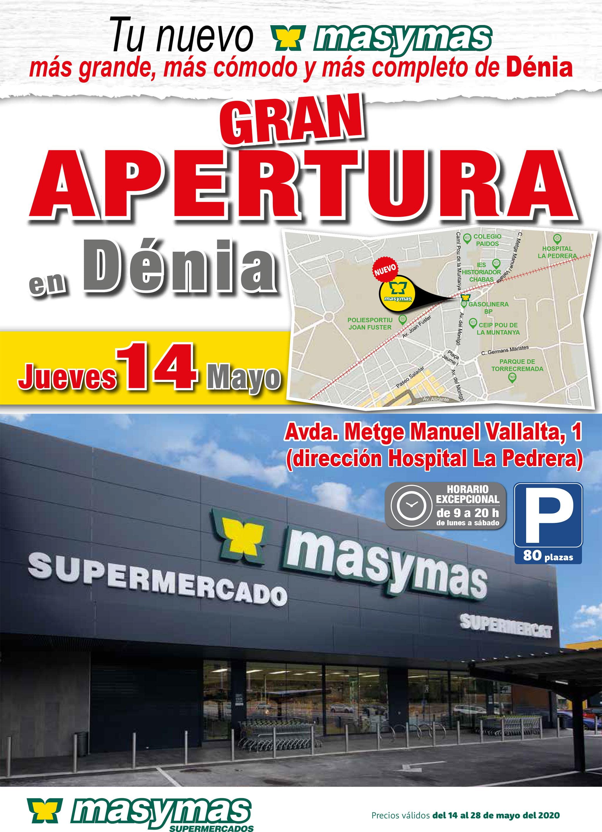 Folleto de apertura del nuevo supermercado Mas y Mas en Dénia