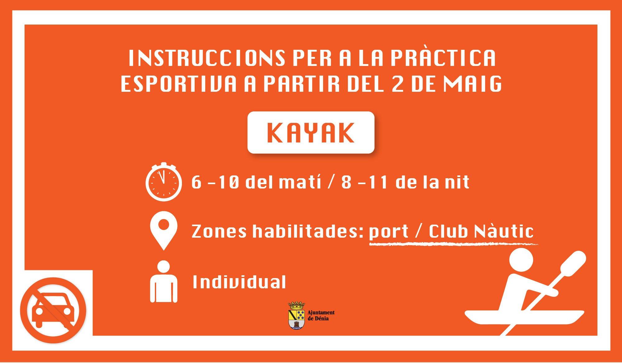 Instrucciones para la práctica de kayak