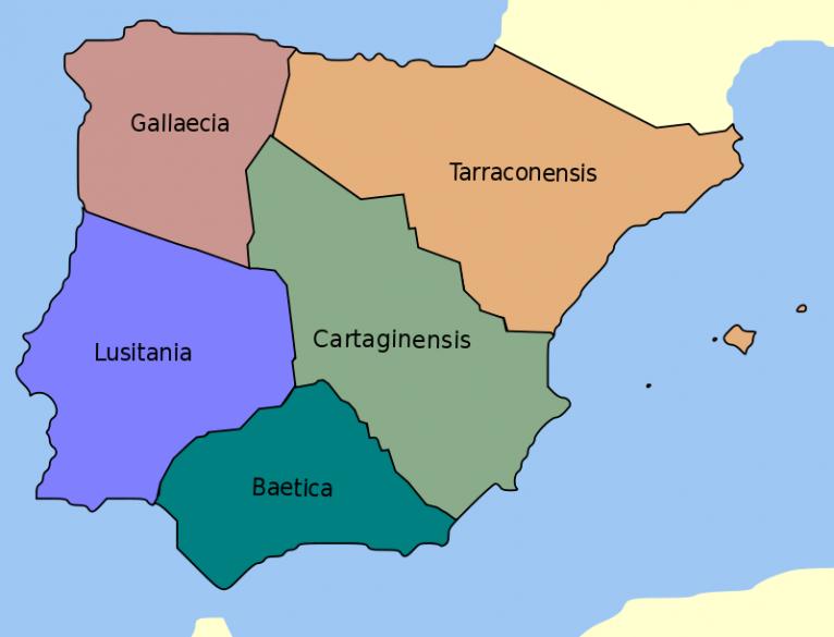 Provinces of Roman Hispania (Source: Wikipedia.org)