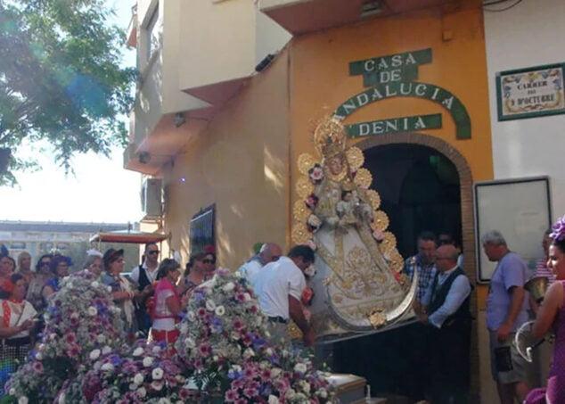 Imagen: Salida de la Virgen del Rocío para la Romería dianense