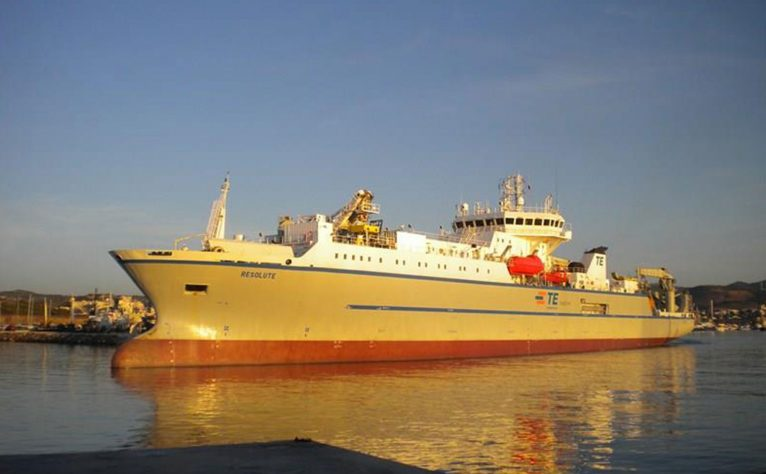 "The cable ship David Costa is currently working on, the ""Resolute"""