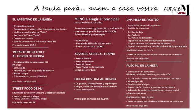 Imagen: Carta Take Away - Casa Miguel Juan