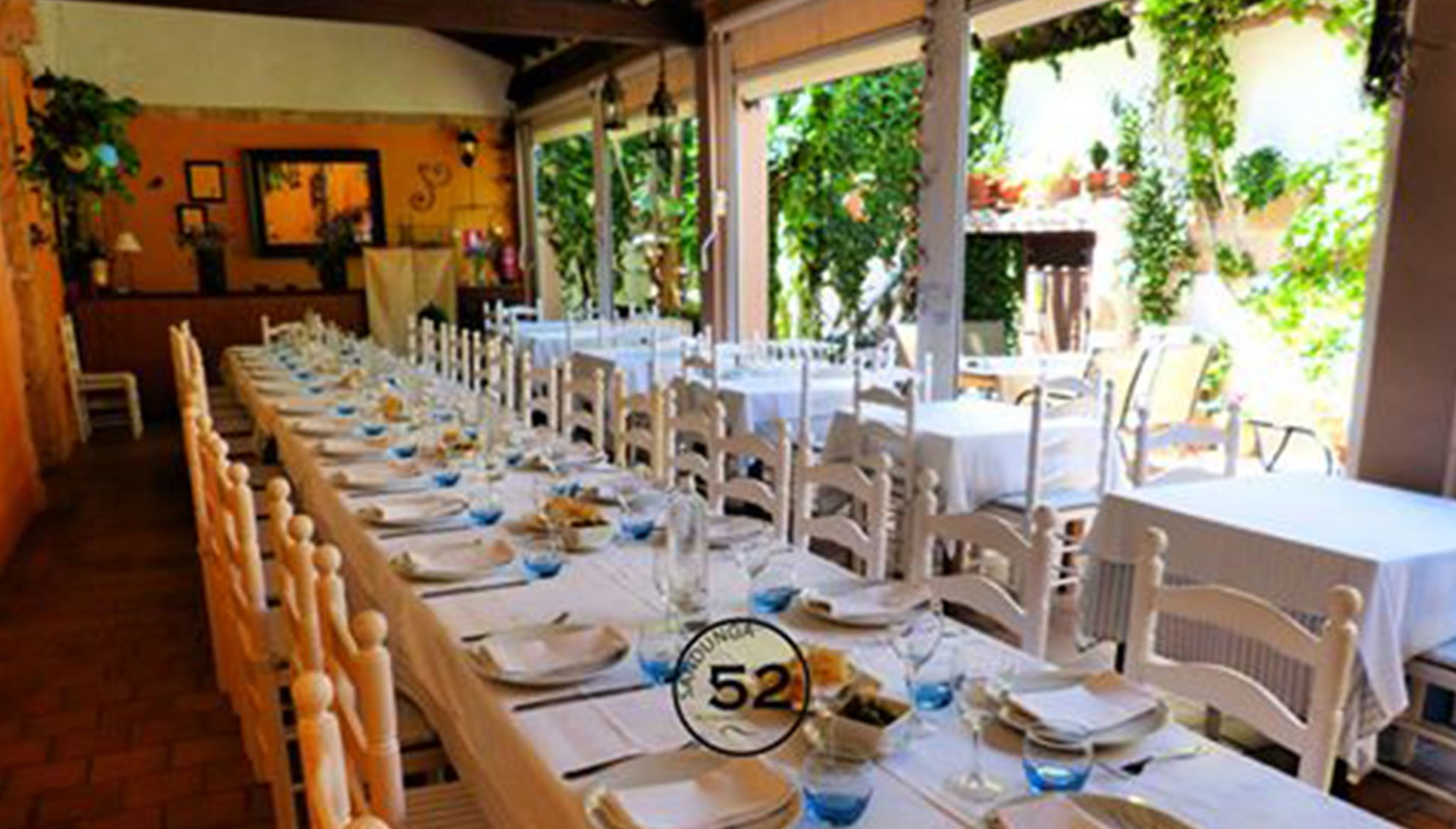 View of the Sandunga 52 dining room prepared for a celebration