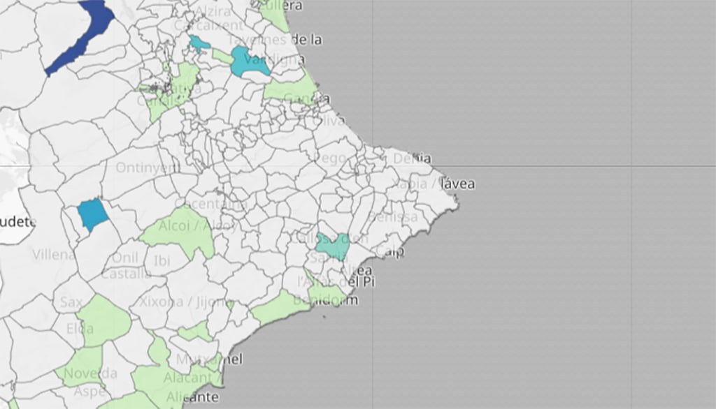 New positives in the last 14 days by municipality
