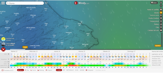 Imatge: Previsió de vent a web meterològica