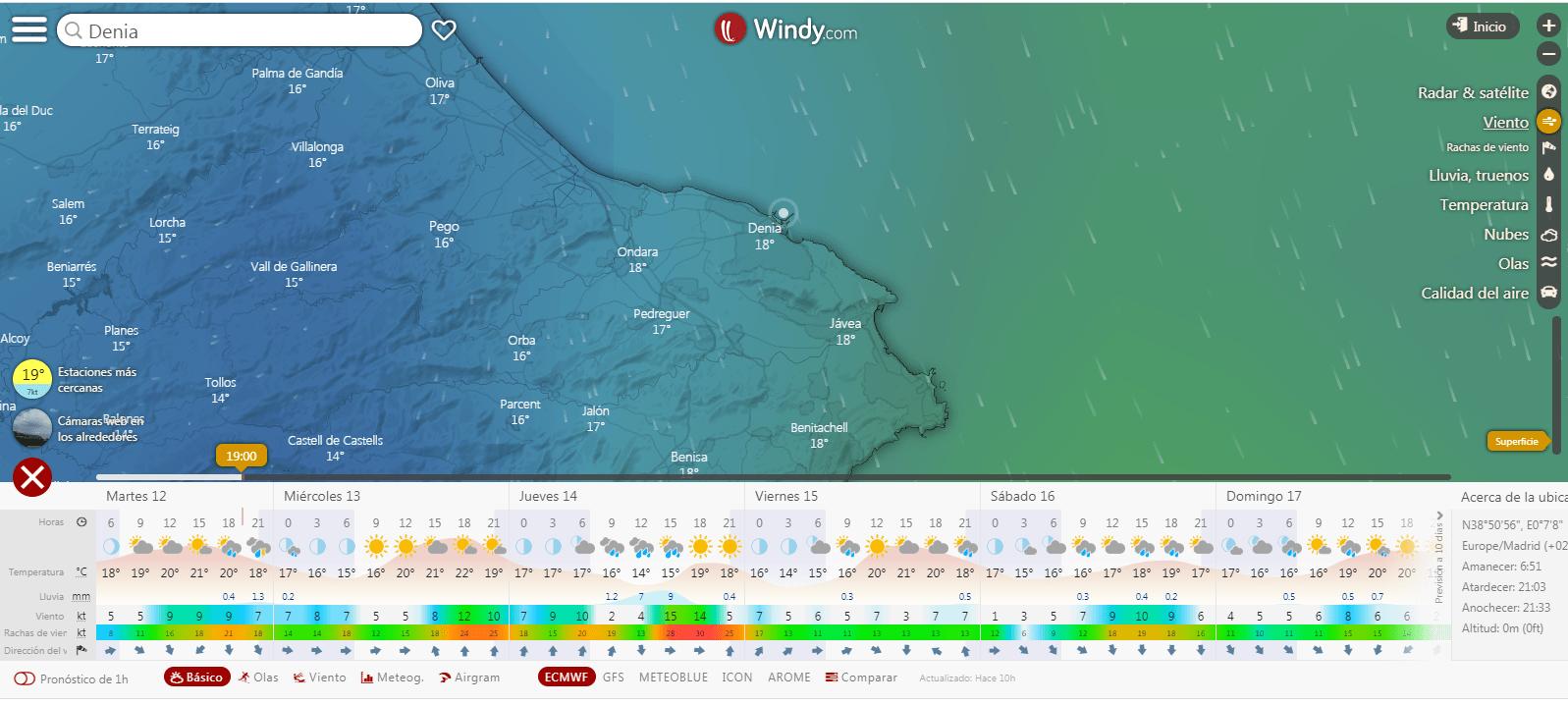Previsión de viento en web meterológica