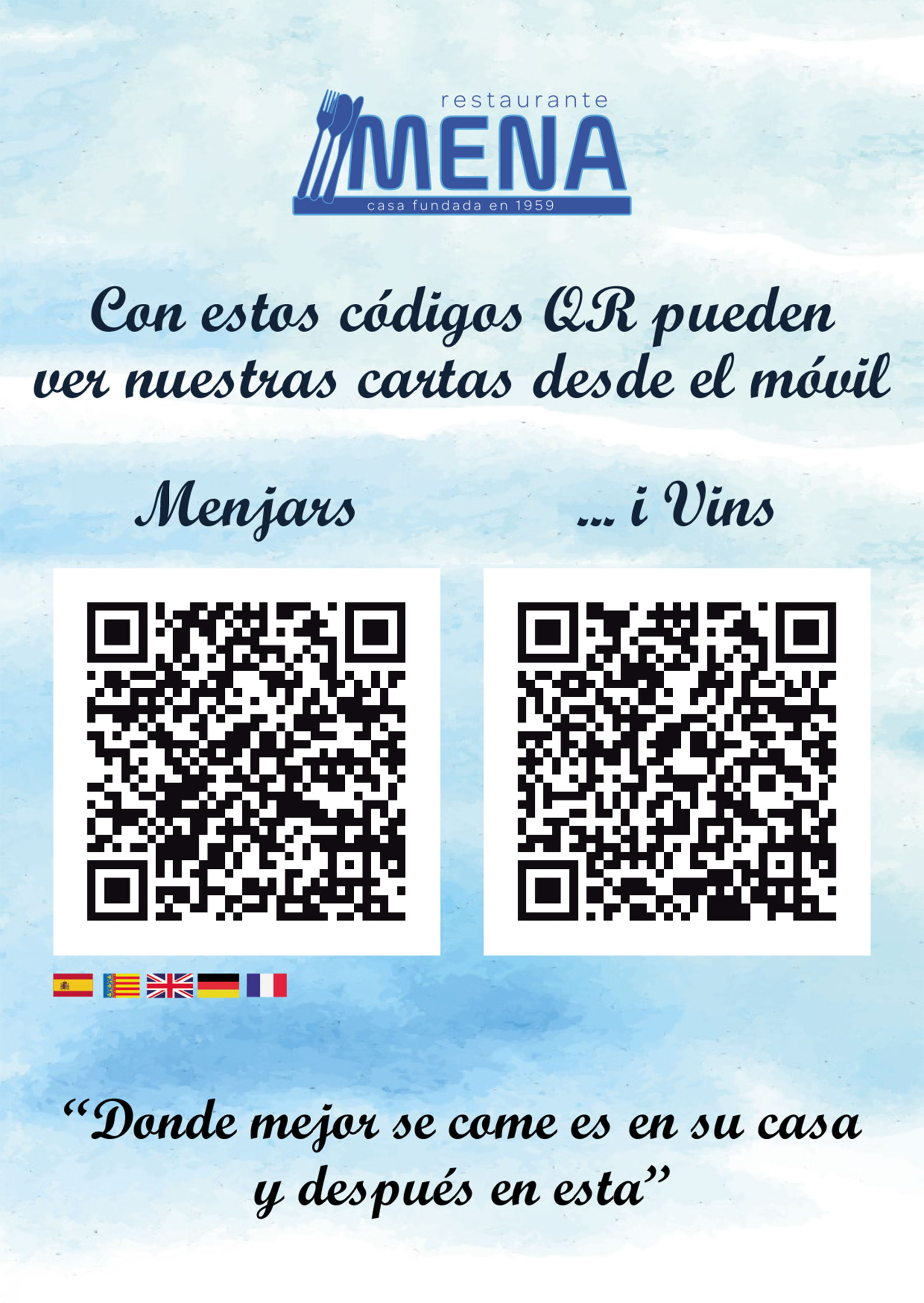 Menu with QR code of Restaurante Mena - Avantcem