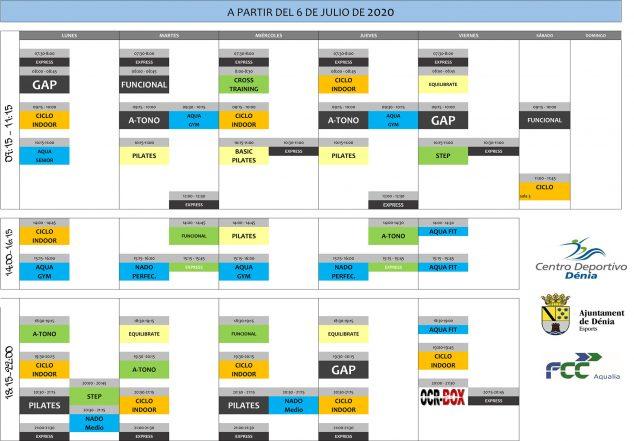 Imagen: Horario de actividades a partir del 6 de julio de 2020 - Centro Deportivo Dénia