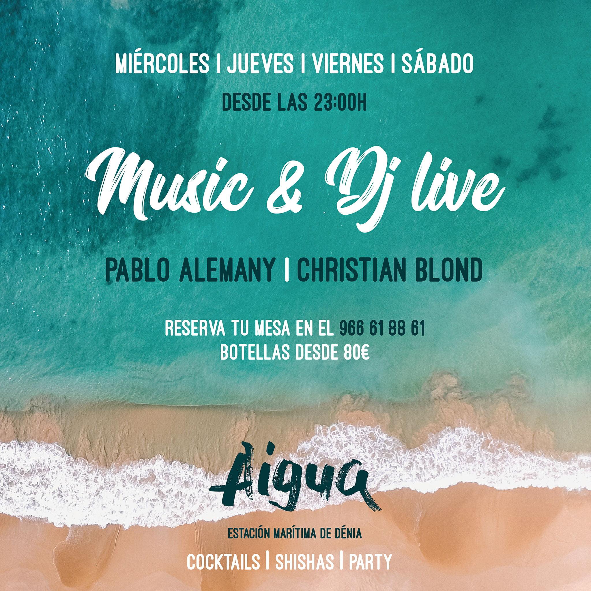 Sesiones de música en directo y DJ en Aigua – Pa Picar Algo