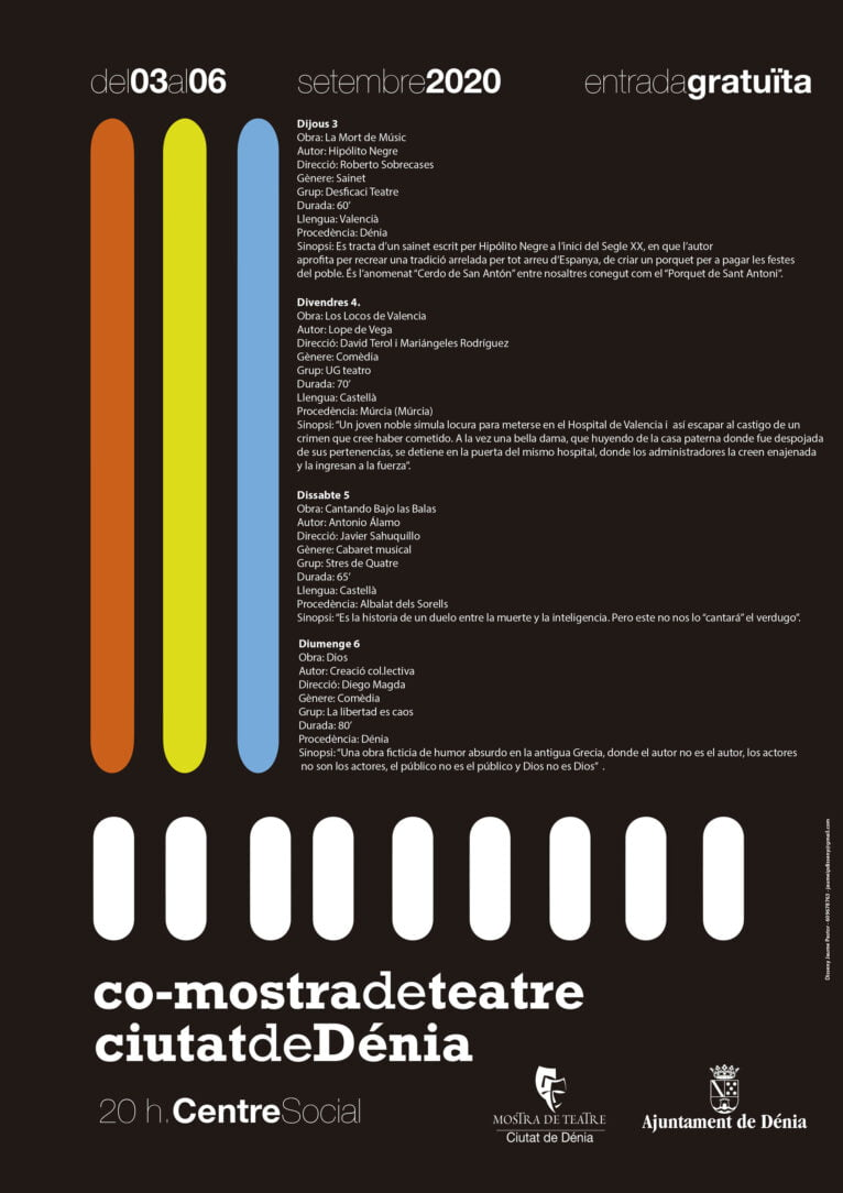 Cartel de la Mostra de Teatre Ciutat de Dénia 2020