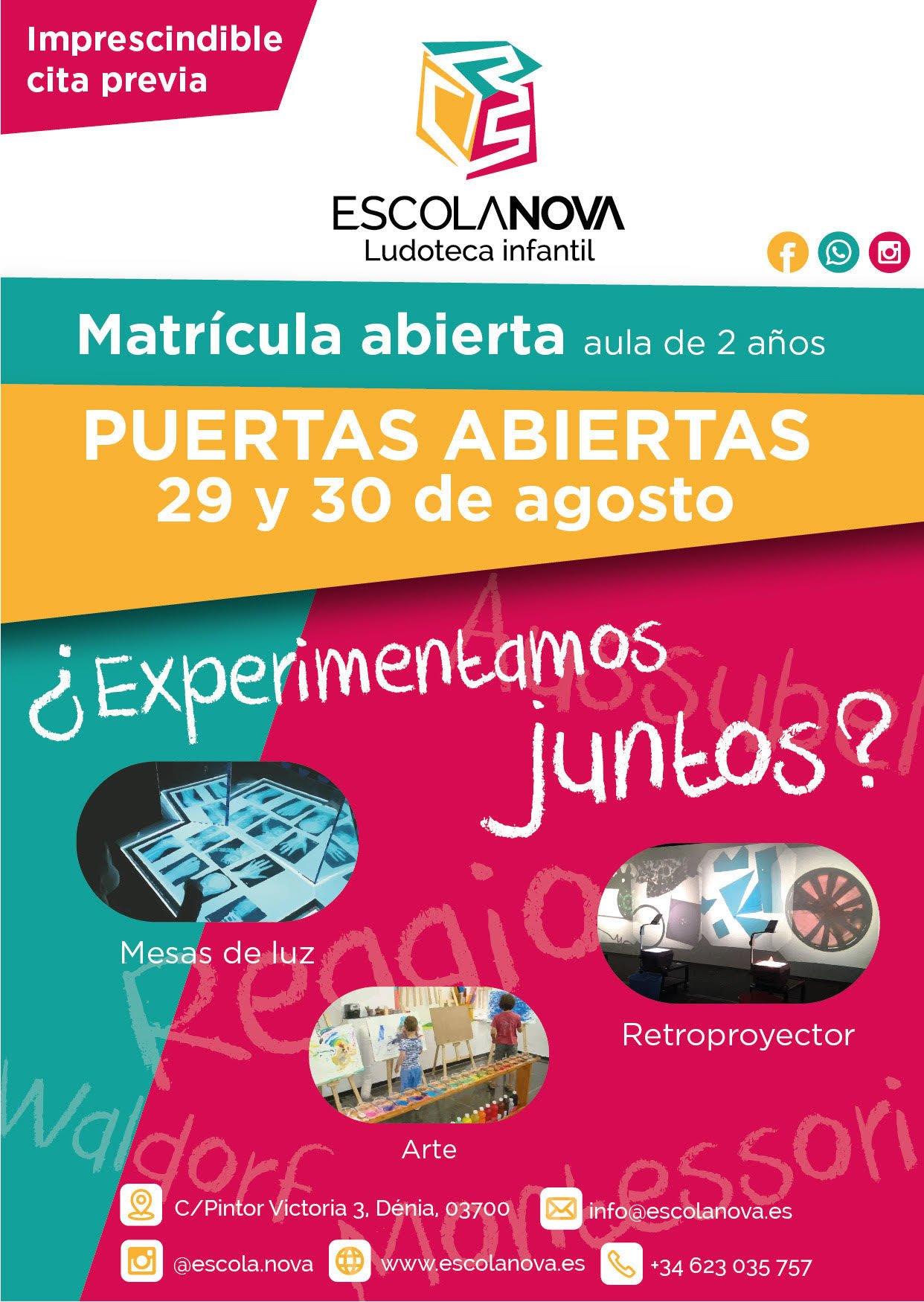 Flyer puertas abiertas Escolanova