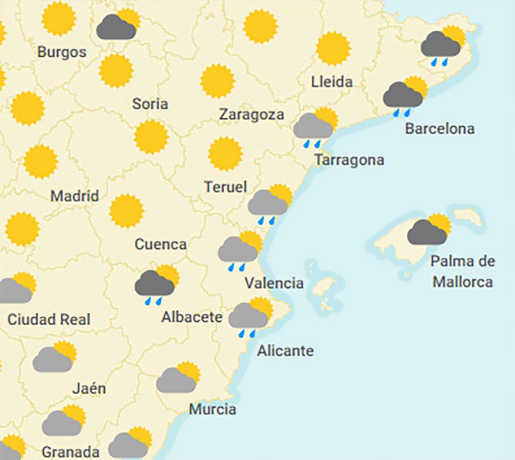 Rain forecast in Dénia