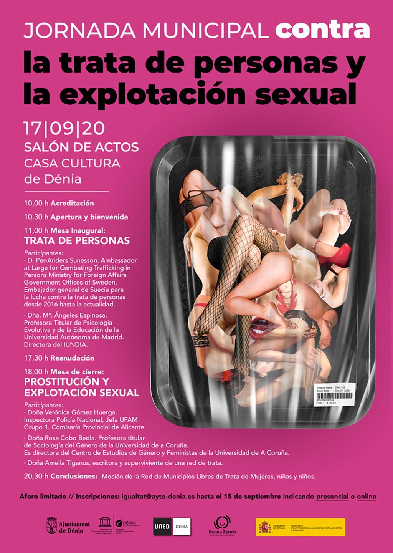 Cartel jornada municipal contra el tráfico de personas y la explotación sexual