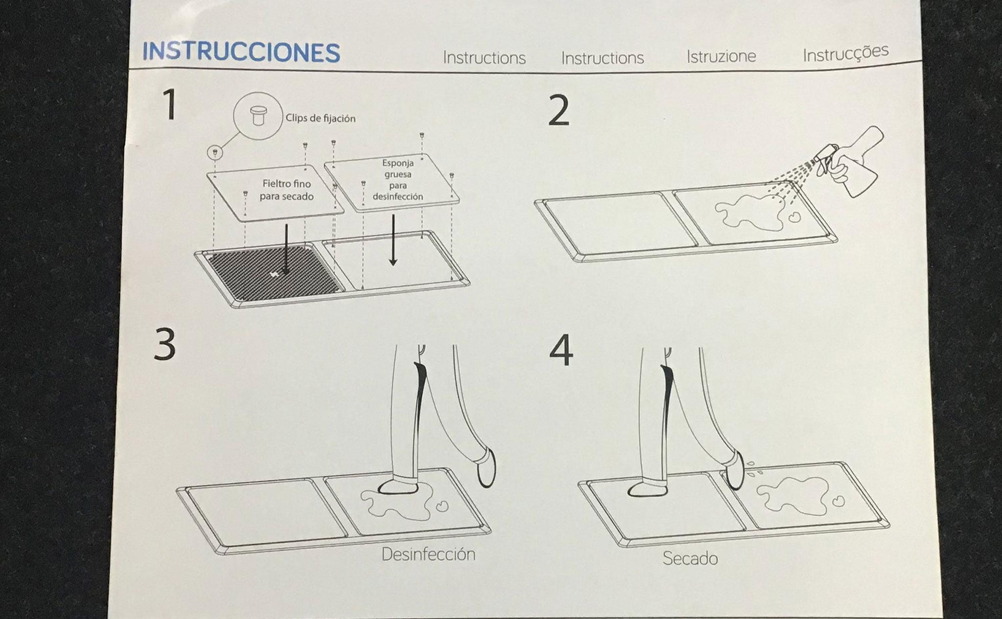Instrucciones de uso del felpudo desinfectante – Coloma 2 Ferreteros