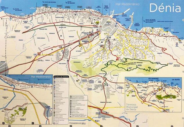 Bild: Lageplan des Montgó in Bezug auf Dénia. Quelle: Tourismusbüro Dénia