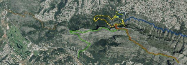 Image: Route Benimaquia-Coll de Pous, balisée en brun clair, à gauche de l'image (Source: Parcs naturels de la Generalitat Valenciana)