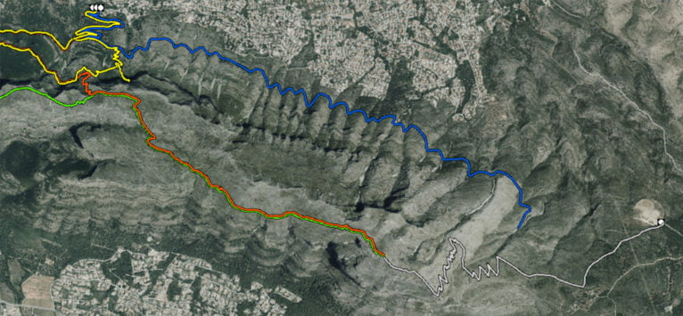 The light gray line in the lower right part marks this route (Source: Cartographic viewer of Natural Parks of the Generalitat Valenciana)