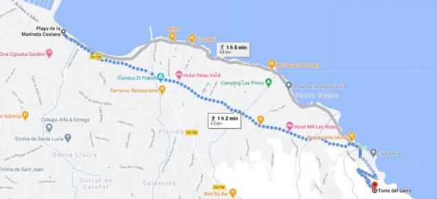 Imagen: Marcada por la línea gris, la ruta desde la Marineta Cassiana hasta la Torre del Gerro