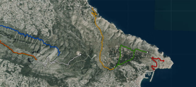 Image: Route from the Torre del Gerro to the Molinos de Xàbia, marked with an orange line (Source: Cartographic viewer of the Generalitat Valenciana)