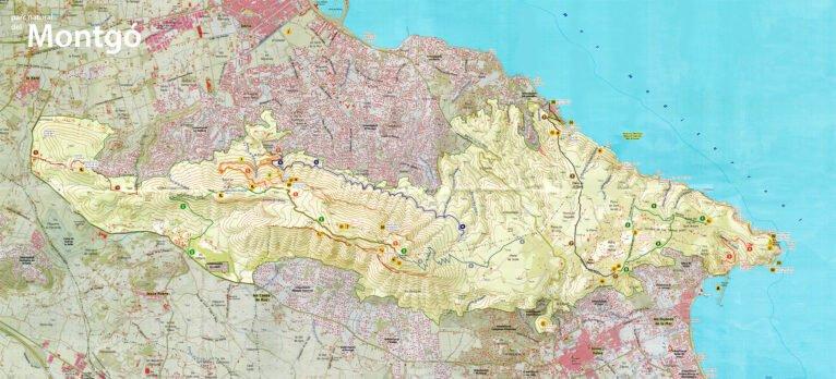 Plano de las rutas por el Montgó desde Dénia y desde Jávea, marcadas con números