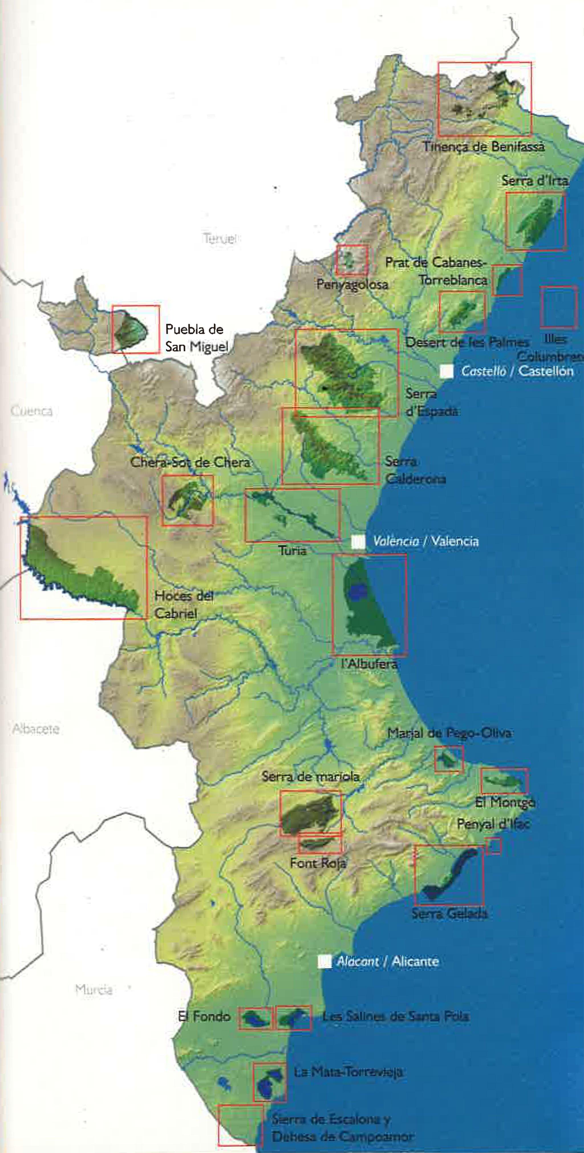 Mapa de situación de todos los parques naturales de la Comunitat Valenciana, entre ellos, el Montgó