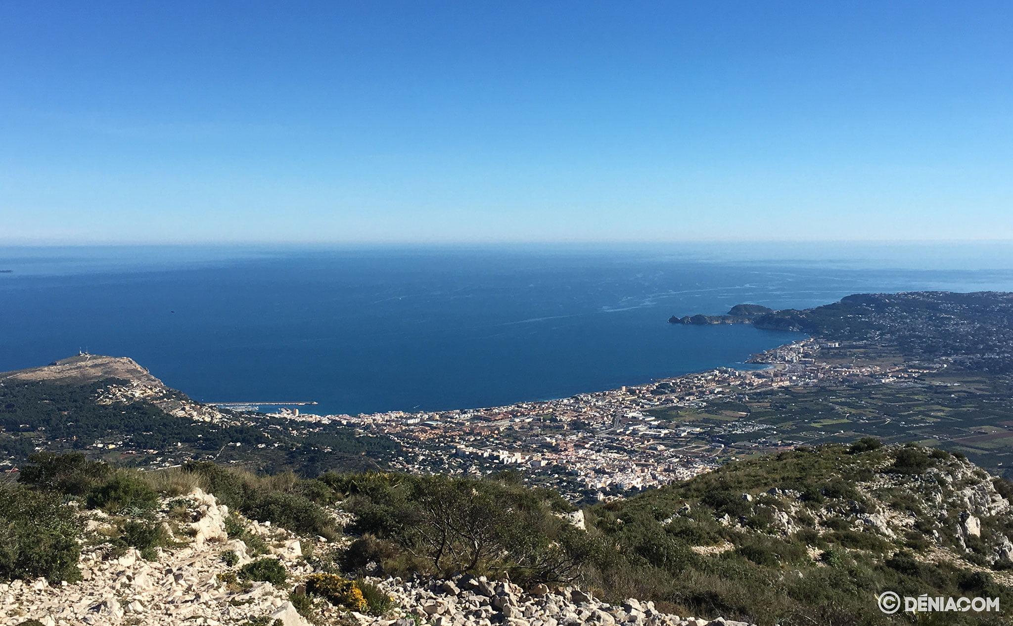 Views of Jávea on the route up Montgó through the shooting range