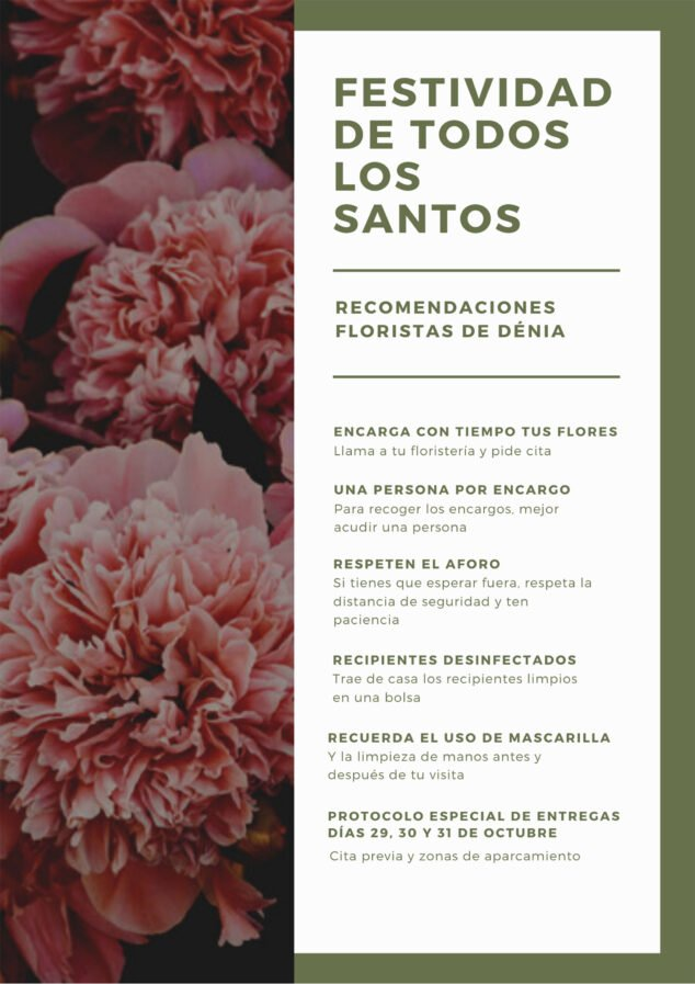Image: Poster on recommendations of the florists of Dénia for All Saints - Mandarina Florist