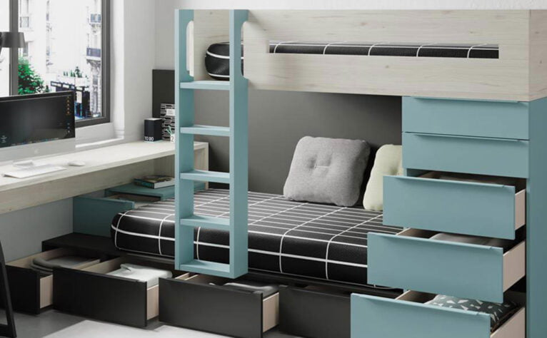 Dormitorio juvenil en tonos fríos - Muebles Martínez