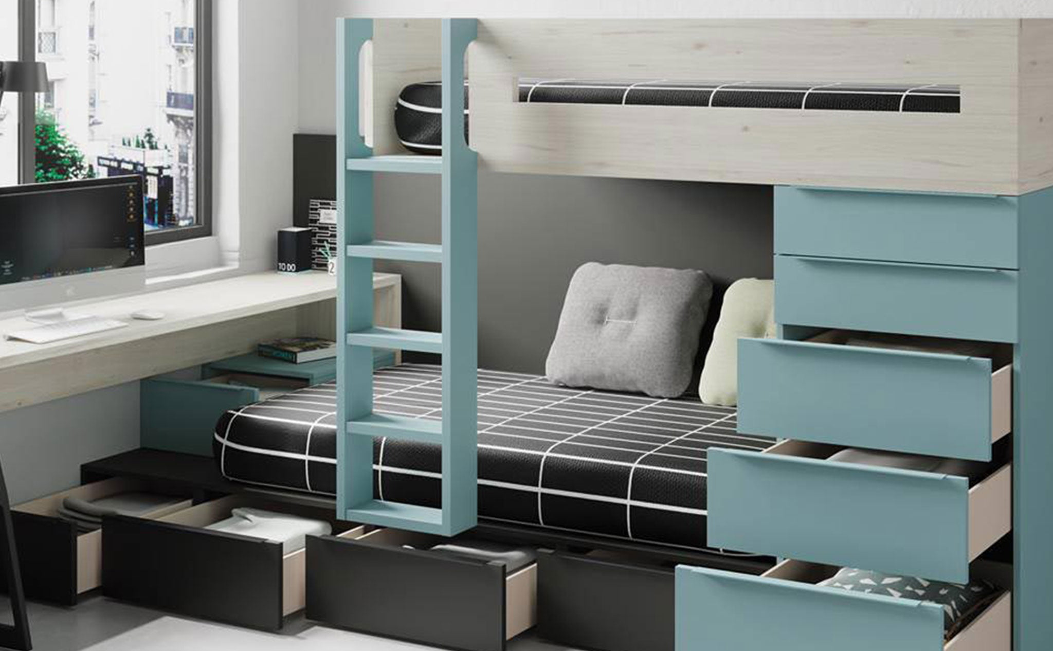 Dormitorio juvenil en tonos fríos – Muebles Martínez