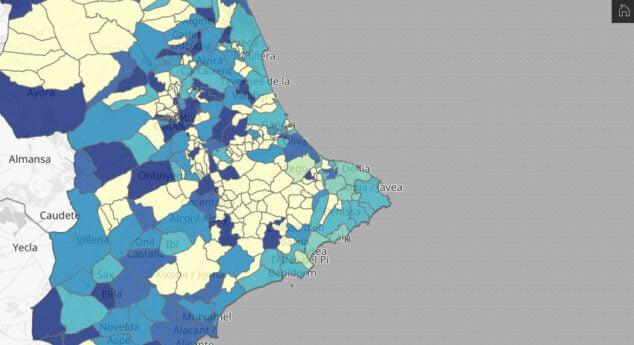 Imagen: Incidencia del coronavirus por municipio
