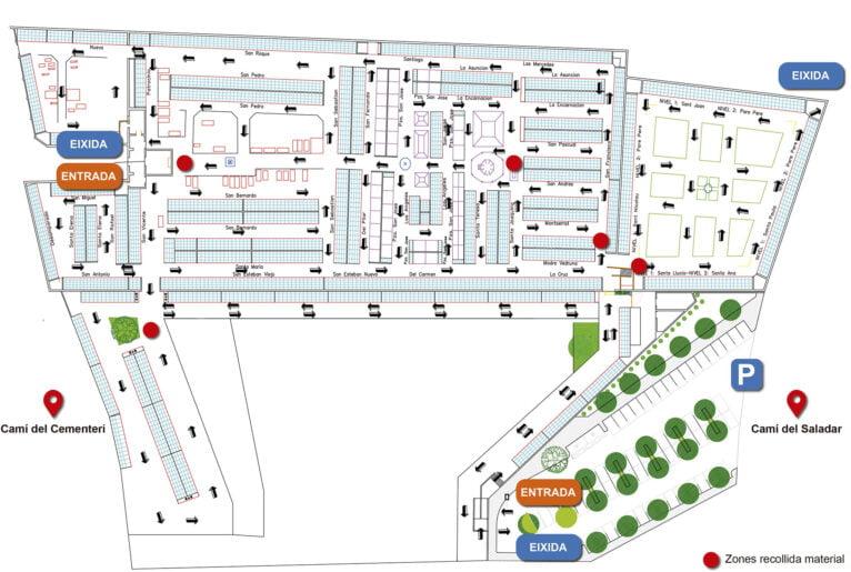 Plano con el circuito antiCOVID del cementerio