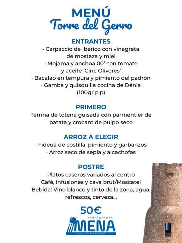 Imagen: Menú de empresa 'Torre del Gerro' en Dénia - Restaurante Mena