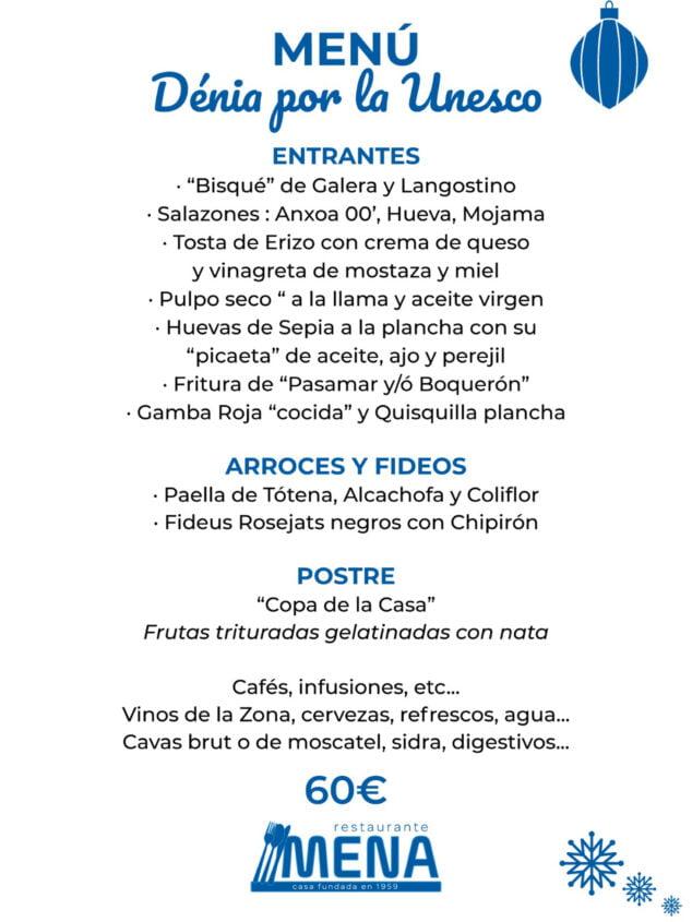 Imagen: Menú de empresa 'Unesco' en Dénia - Restaurante Mena