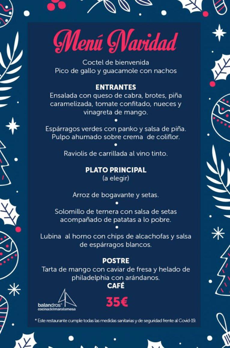 Menú de Navidad en Dénia - Restaurante Balandros