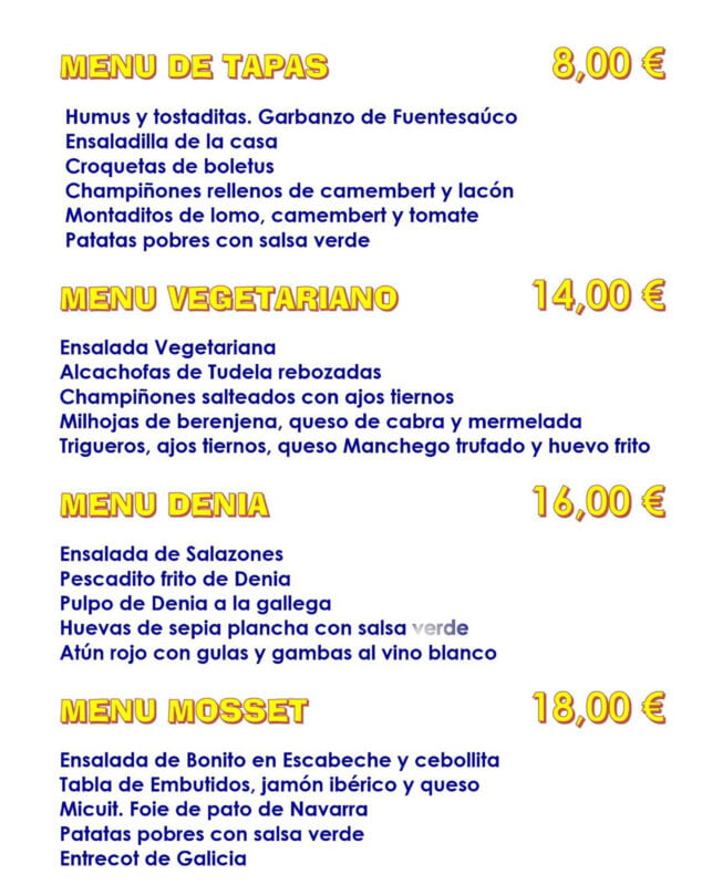 Image: Various menus with different prices - El Mosset