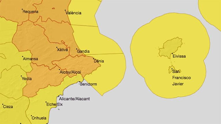 Orange alert for wind in Dénia