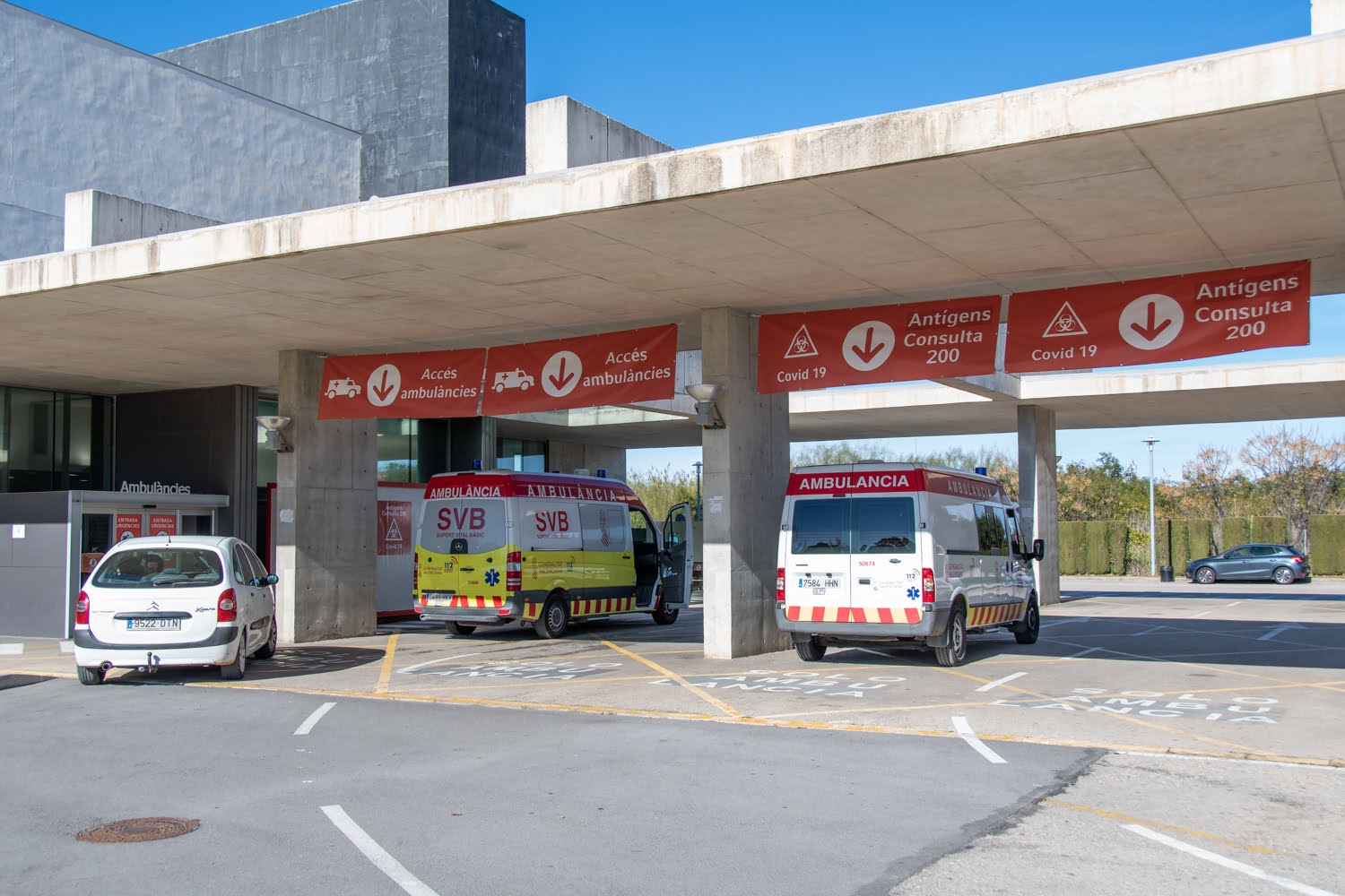 Ambulances in the emergency department of the Dénia hospital