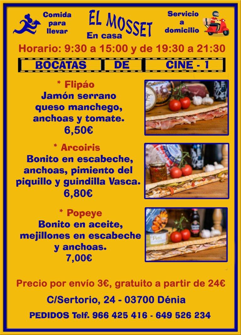 Sandwichs à emporter et à la maison à Dénia (Cinema Sandwiches 1) - El Mosset