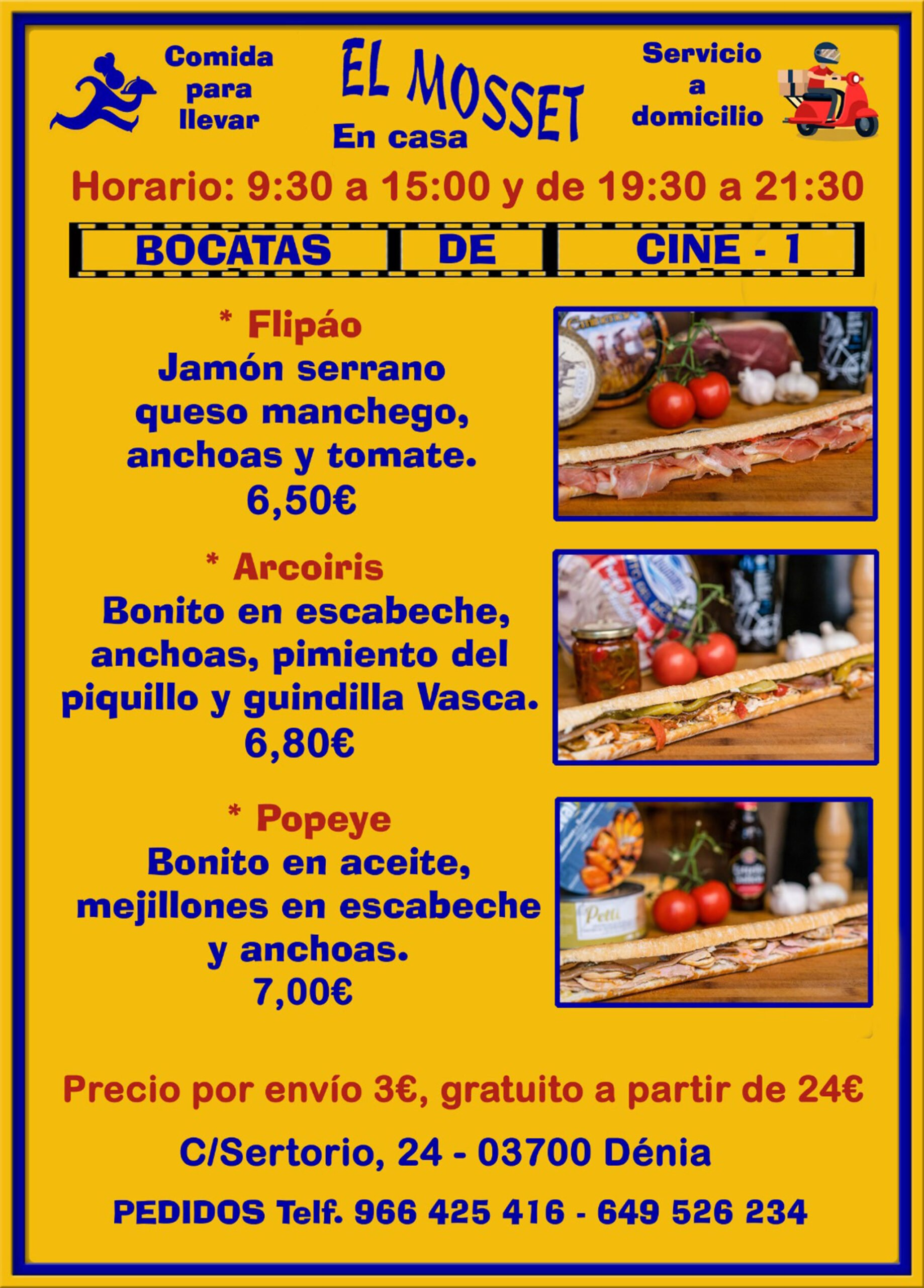Sandwiches to take away and at home in Dénia (Cinema Sandwiches 1) - El Mosset