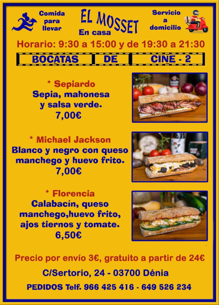 Sandwiches to take away and home in Dénia (Cinema Sandwiches 2) - El Mosset