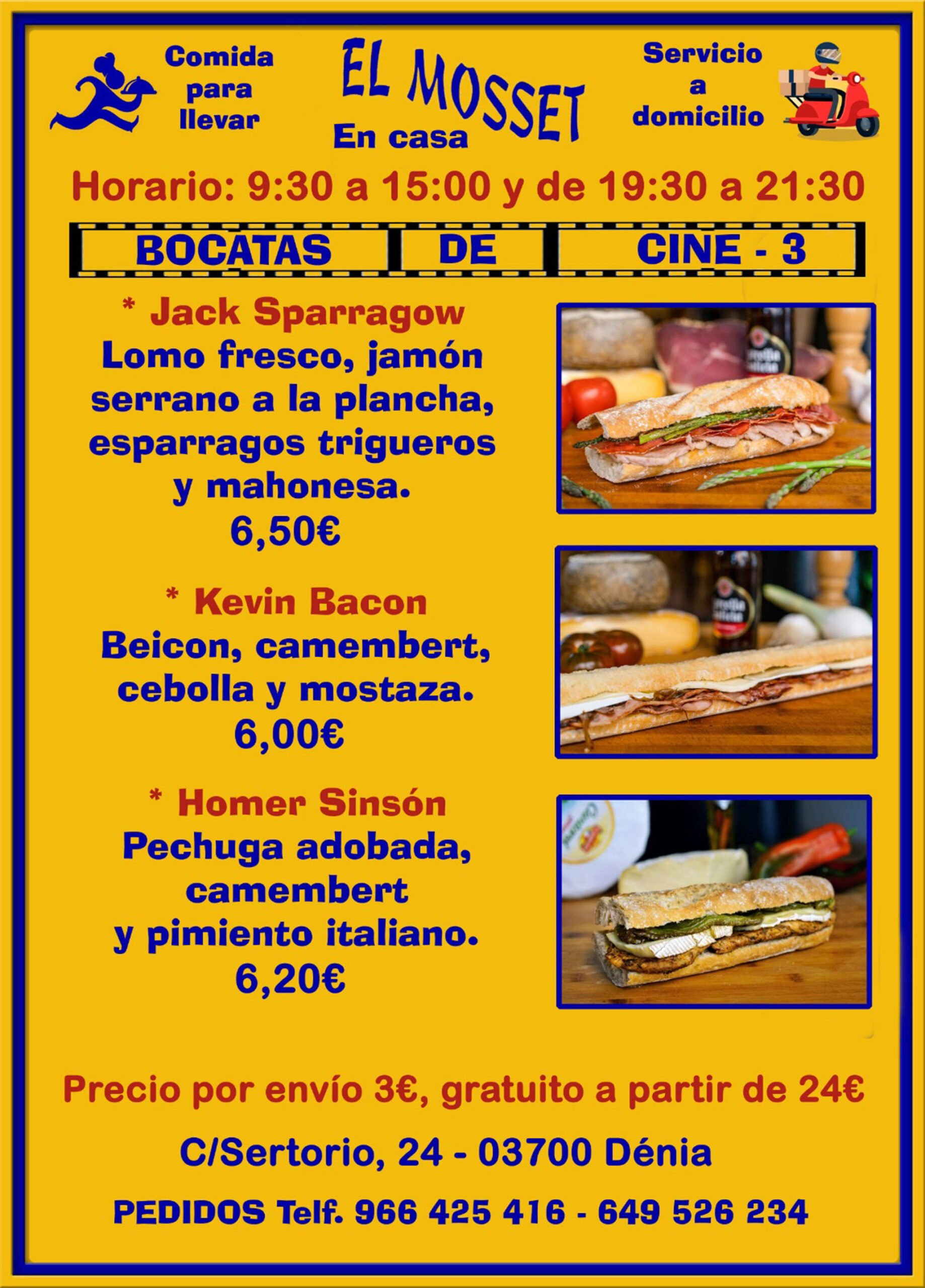 Sandwiches to take away and at home in Dénia (Cinema Sandwiches 3) - El Mosset
