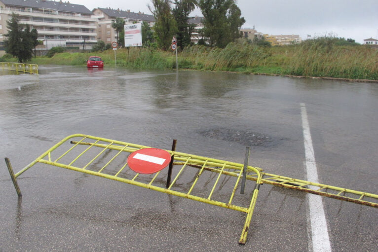 Street cut in Dénia by rains during 2020