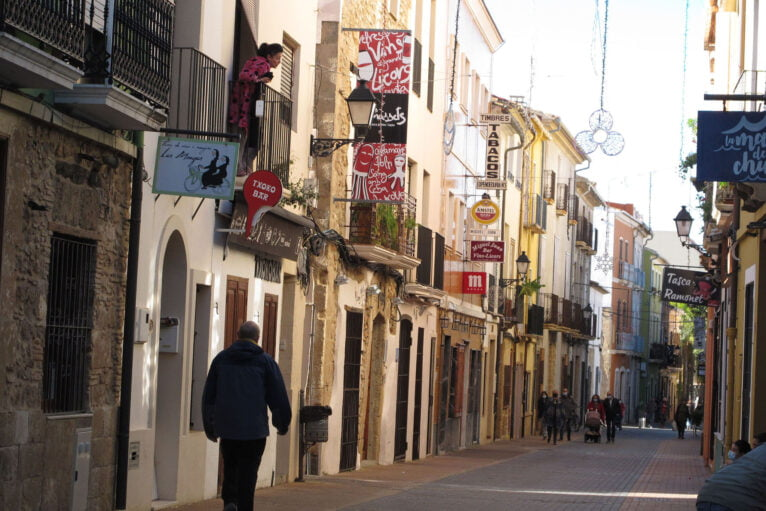 Loreto street with closed restaurants
