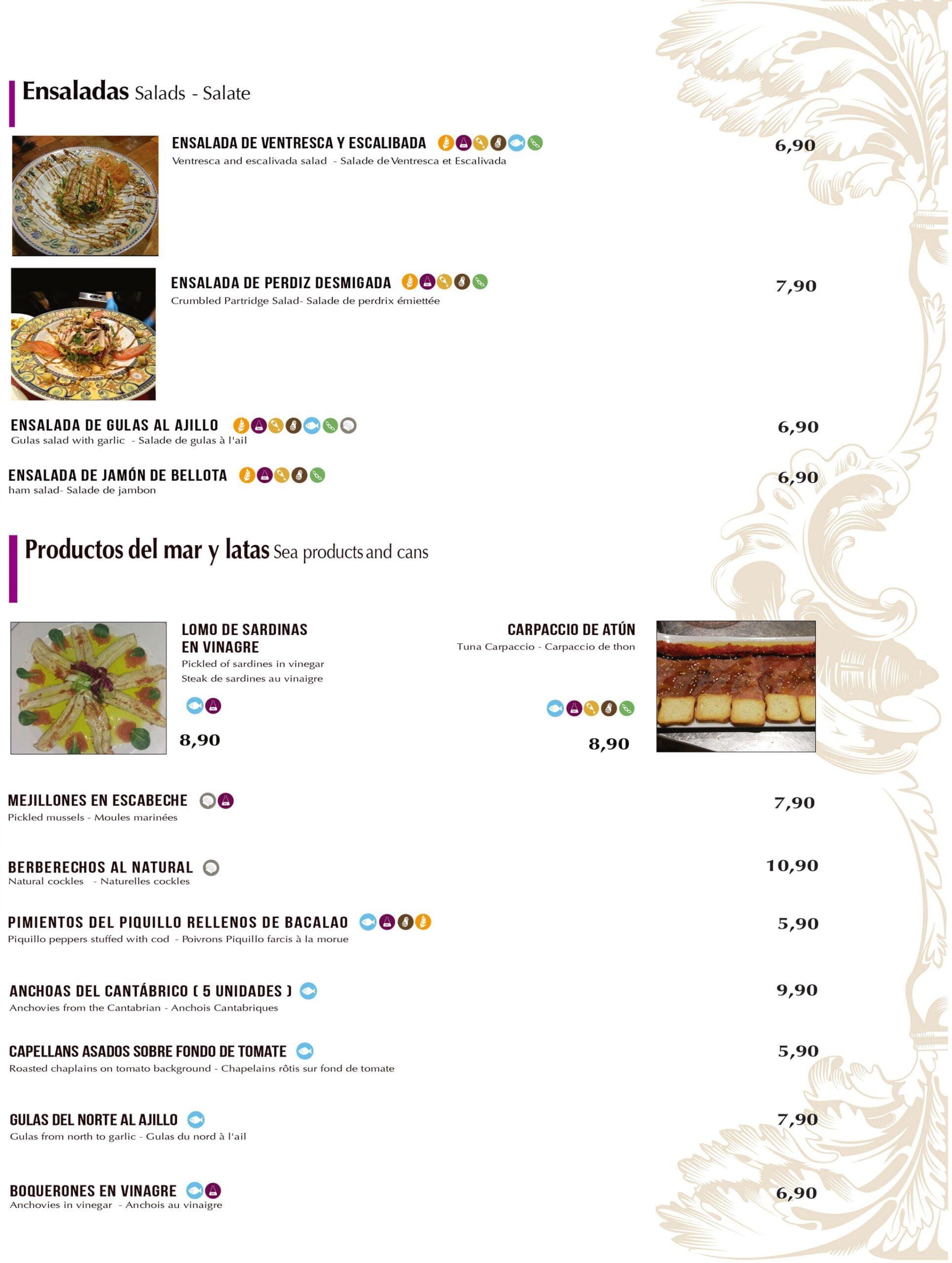 Salades et fruits de mer à emporter et à la maison à Dénia - Bodega del Puerto