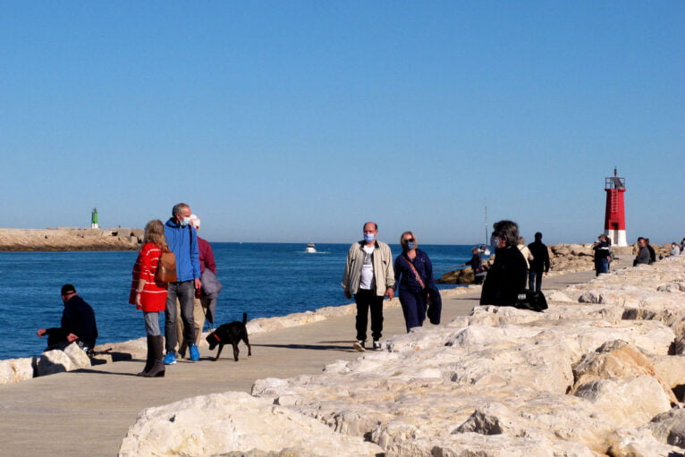 The breakwaters during Sunday morning