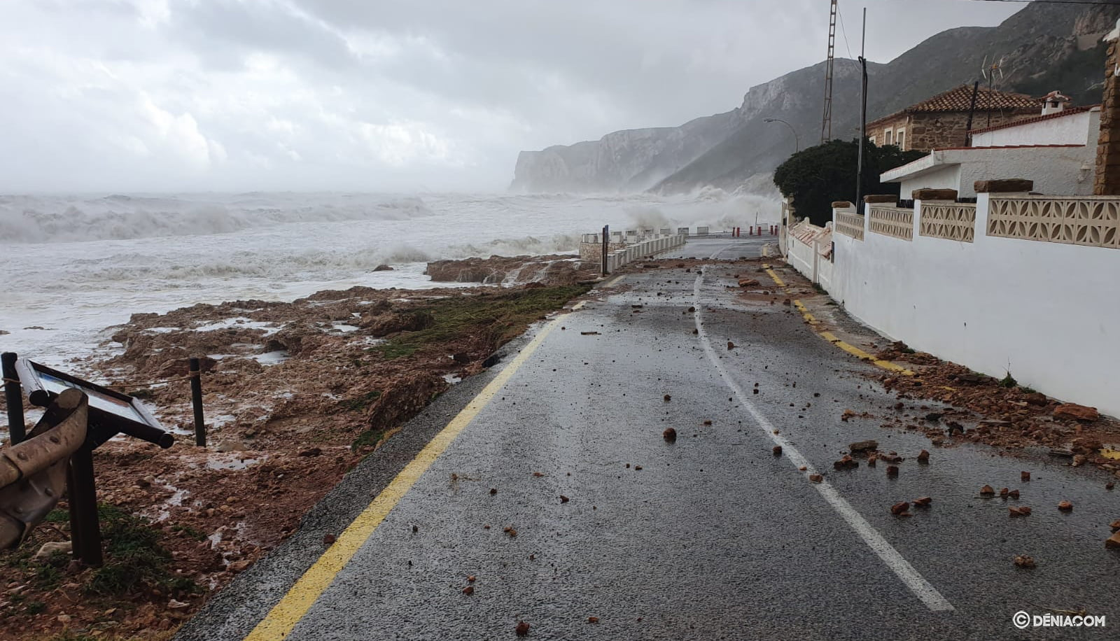 Rocks invade the road