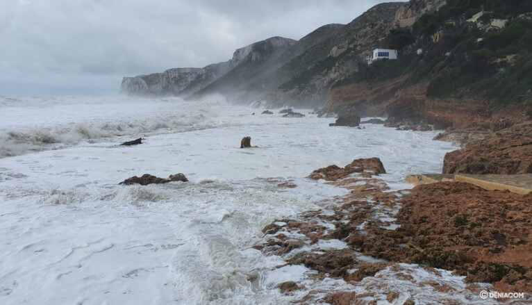 Les Rotes during the day of the storm Gloria