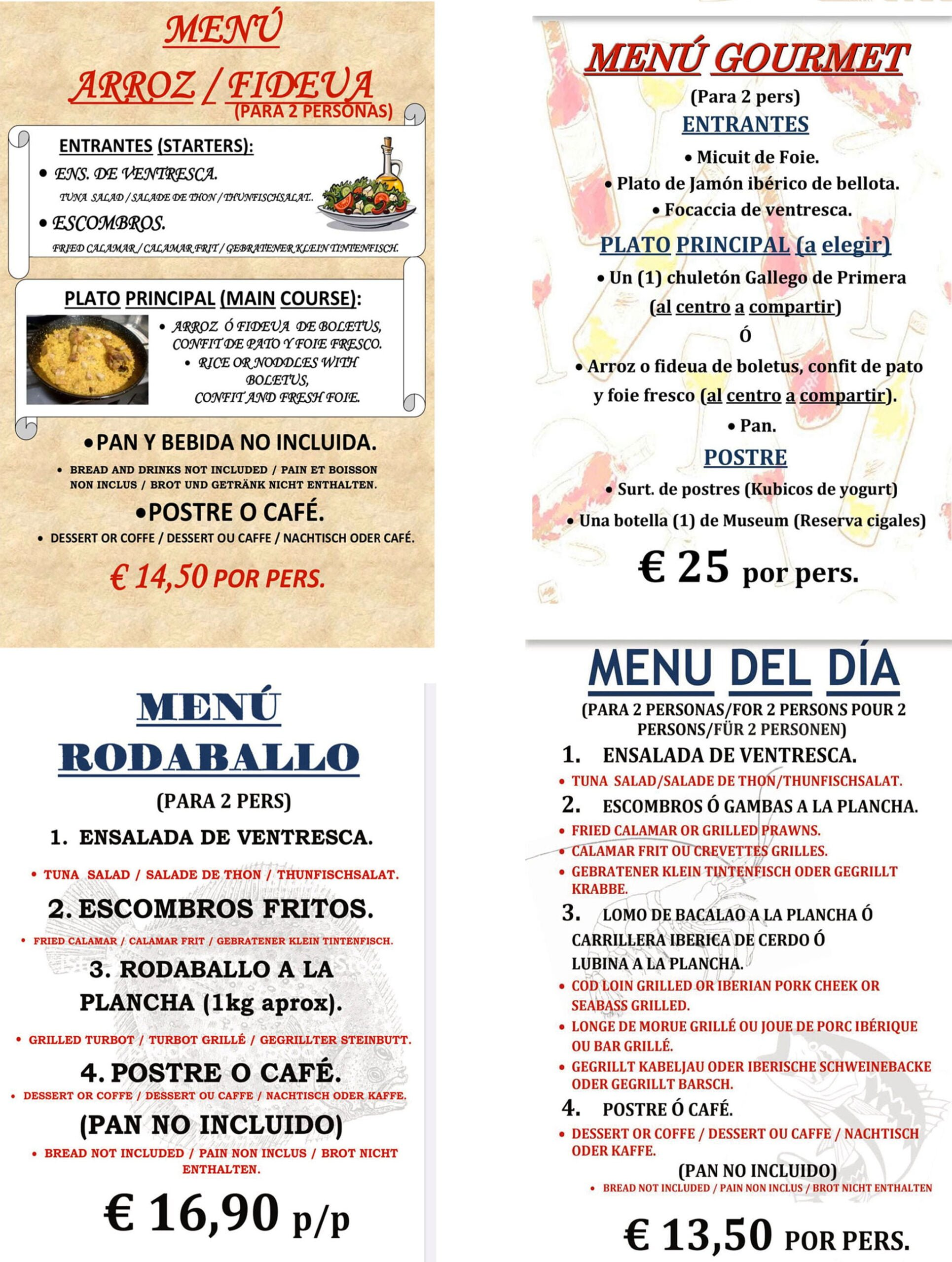 Menus to take away and at home in Dénia - Bodega del Puerto