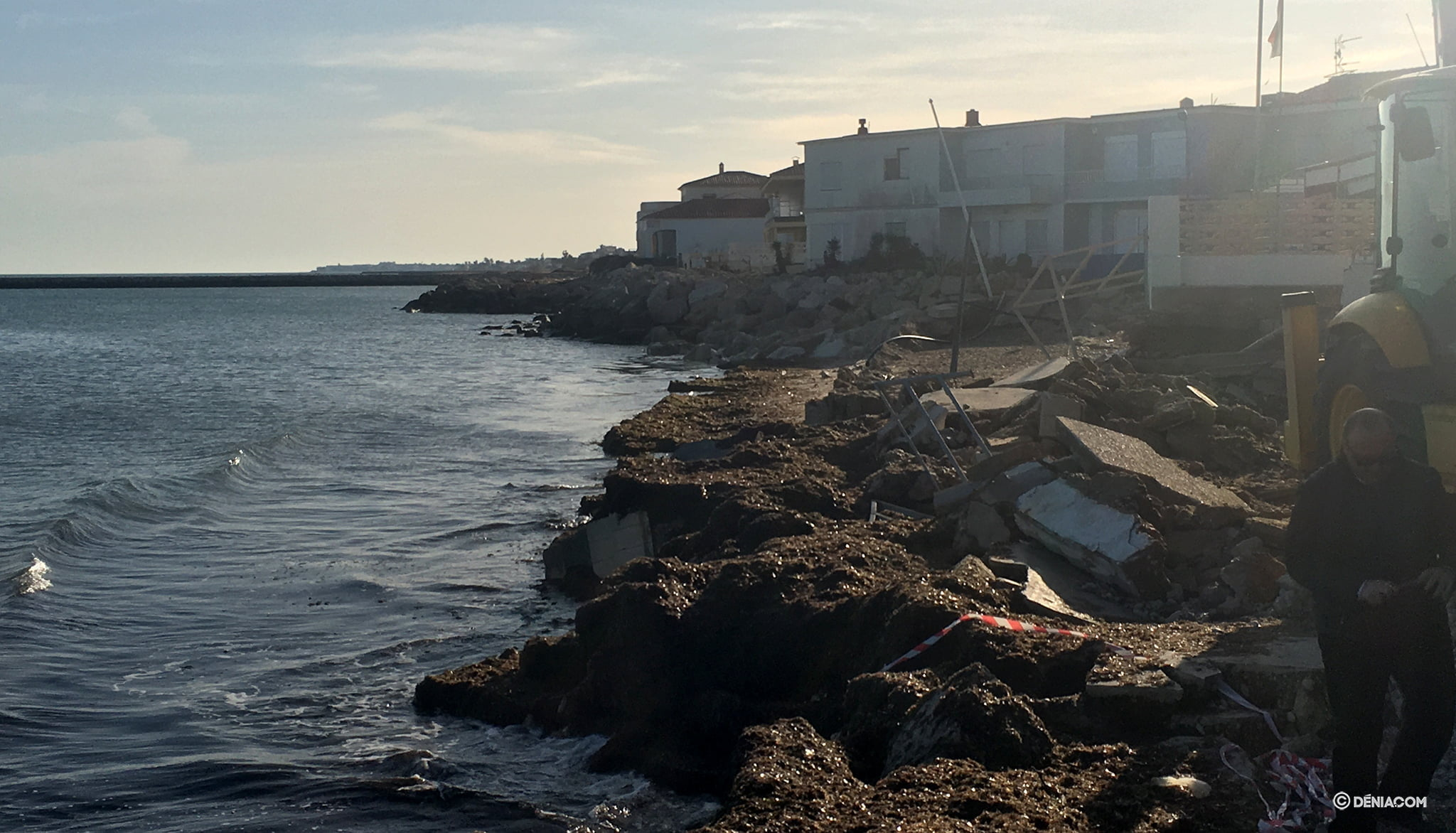 Les Deveses beach after the damage of Gloria
